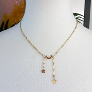 Gold Stars And Moon Dainty Necklace